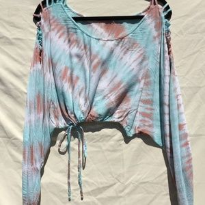 Tiare Hawaii Sky Blue/Pink Tie-Dye Crop Top Blouse